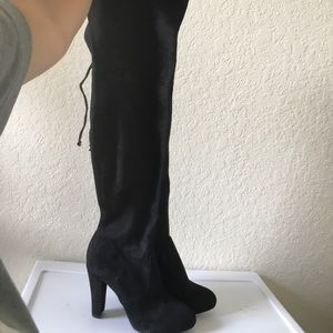 Suede Over the Knee Boots with High Heels